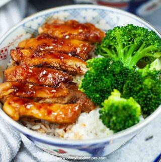 Teriyaki chicken rice bowl with broccoli