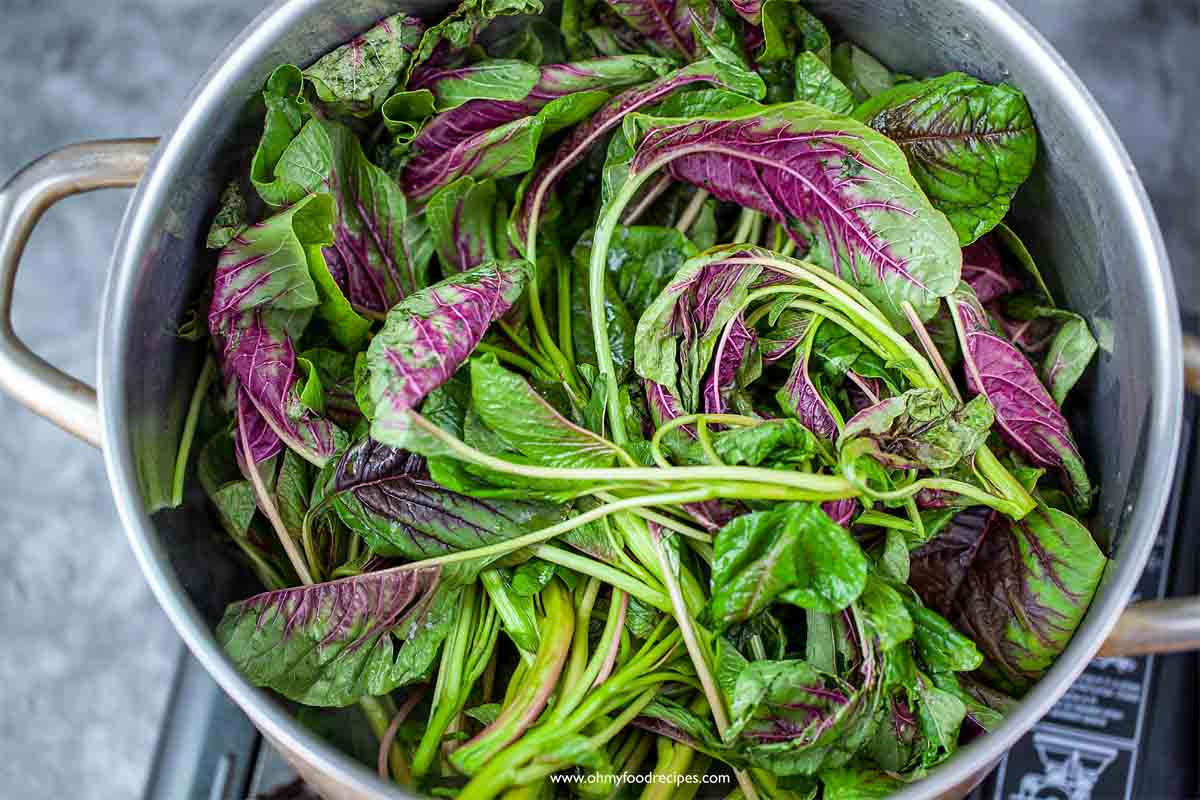 Chinese red spinach amaranth yin choy in the silver pot
