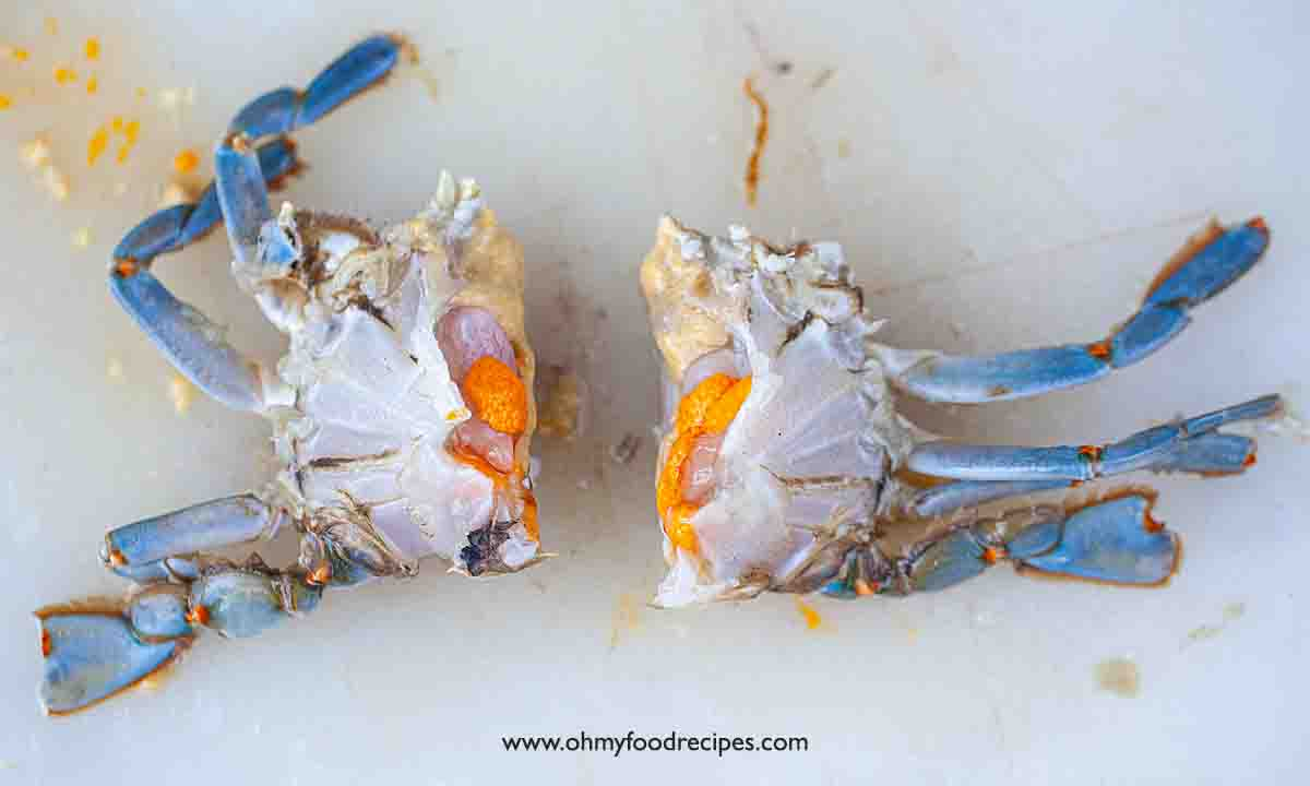 removed crab shell and half the crab