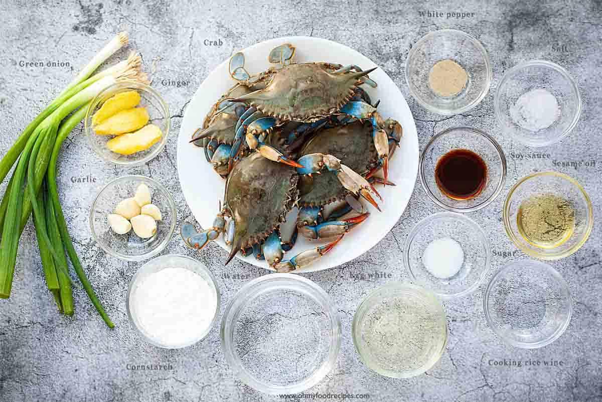 ginger scallion crab stir fry ingredients