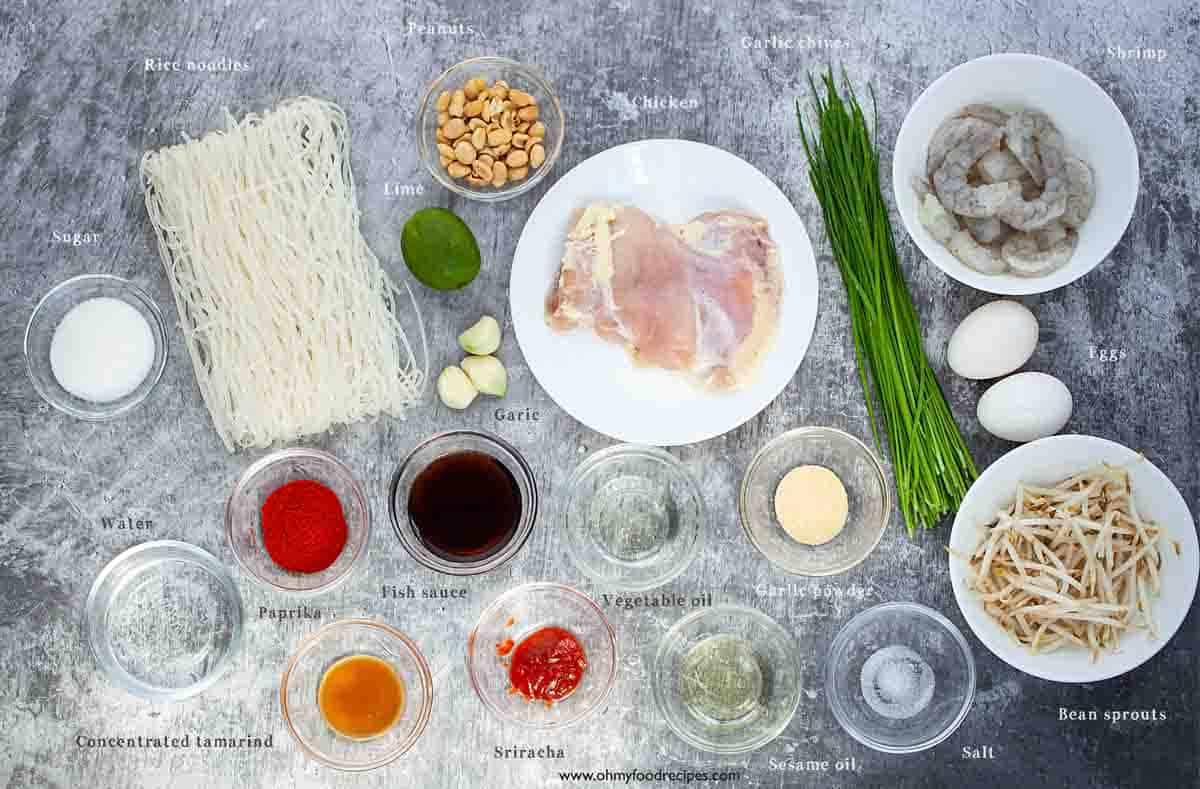 homemade pad thai noodles ingredients