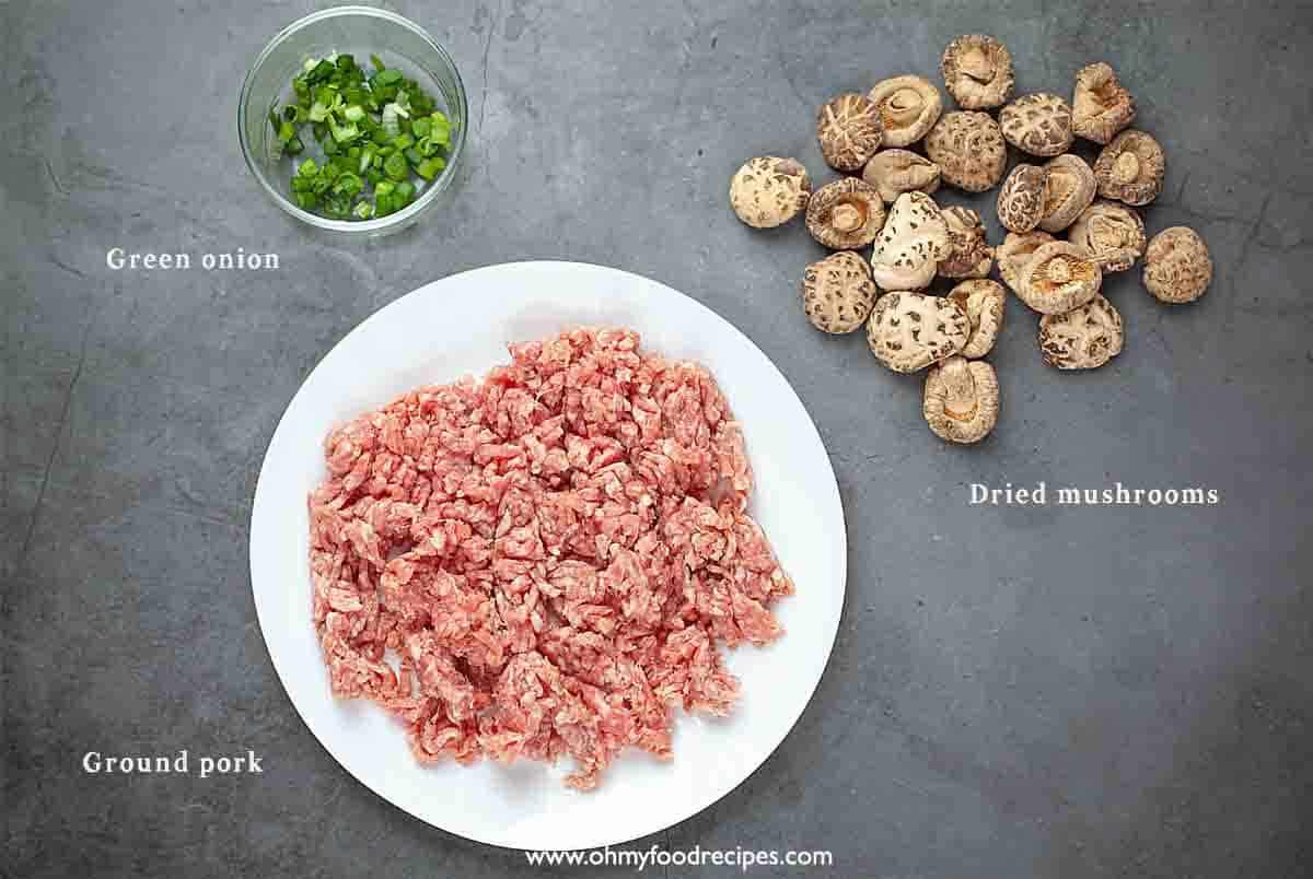 steamed minced pork with mushroom ingredients