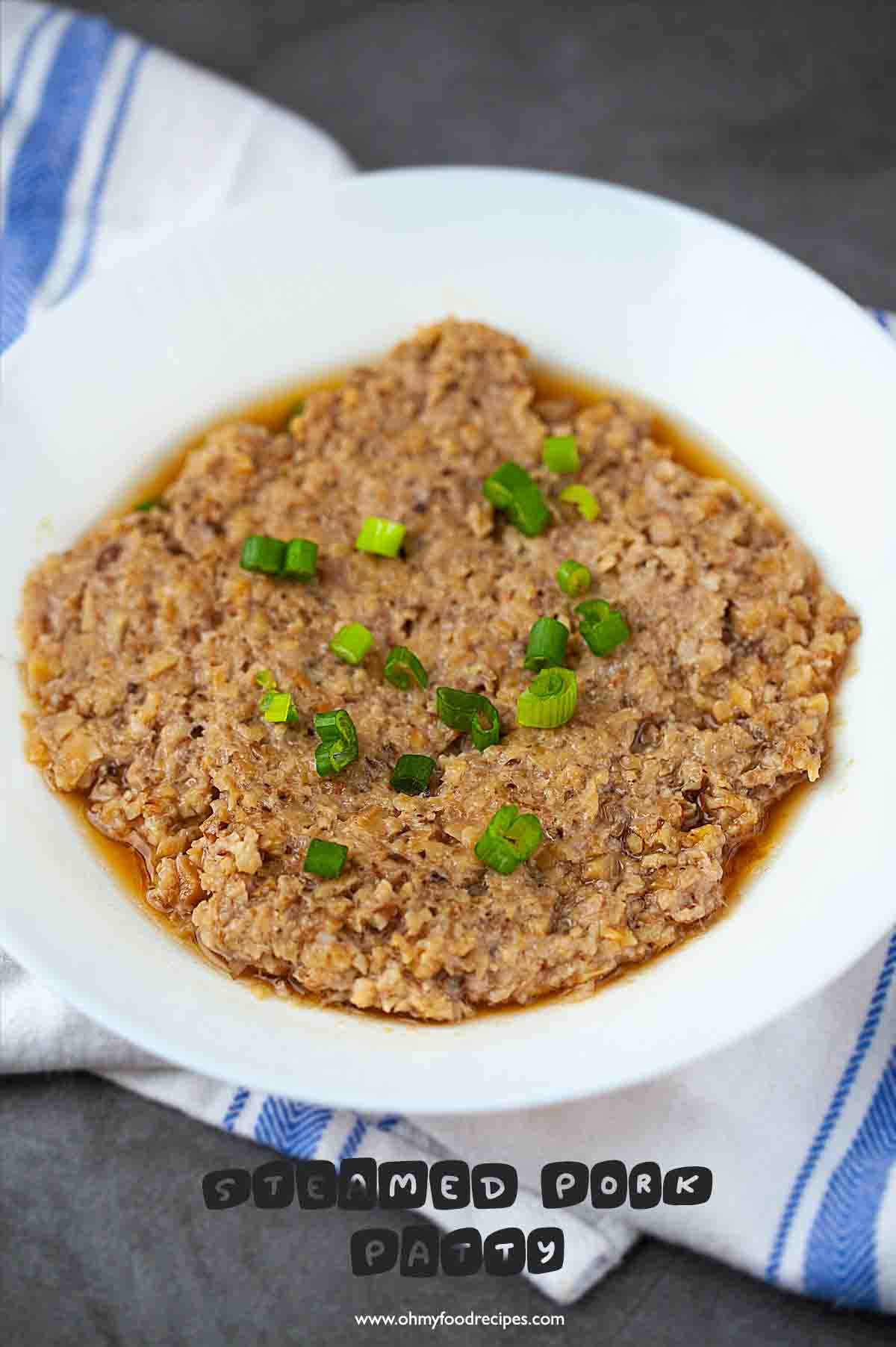 Chinese steamed minced pork with mushrooms or steamed pork patty